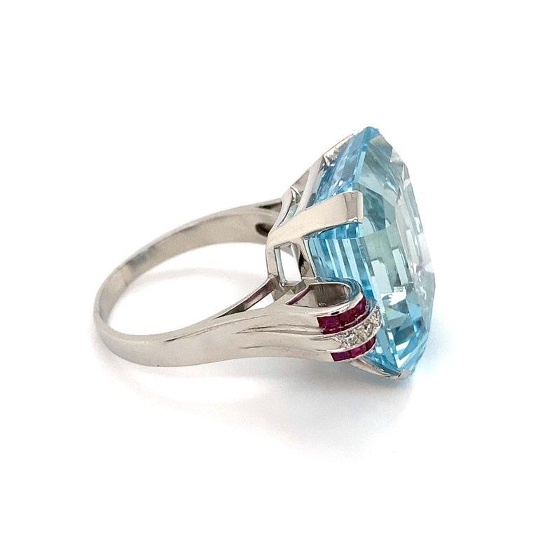 Women's 37.5 Carat Aquamarine Ruby and Diamond Platinum Ring Estate Fine Jewelry For Sale