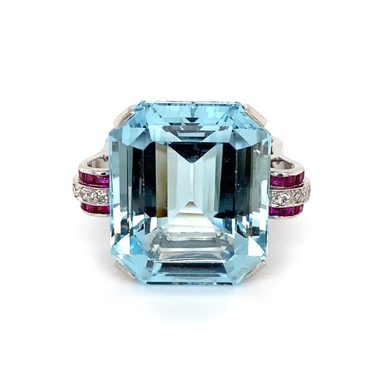 37.5 Carat Aquamarine Ruby and Diamond Platinum Ring Estate Fine Jewelry For Sale 1