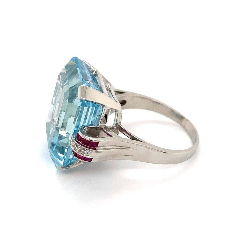 37.5 Carat Aquamarine Ruby and Diamond Platinum Ring Estate Fine Jewelry For Sale 2