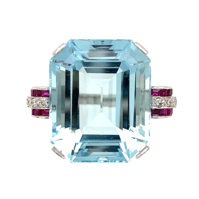 37.5 Carat Aquamarine Ruby and Diamond Platinum Ring Estate Fine Jewelry For Sale 3