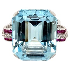 37.5 Carat Aquamarine Ruby and Diamond Platinum Ring Estate Fine Jewelry