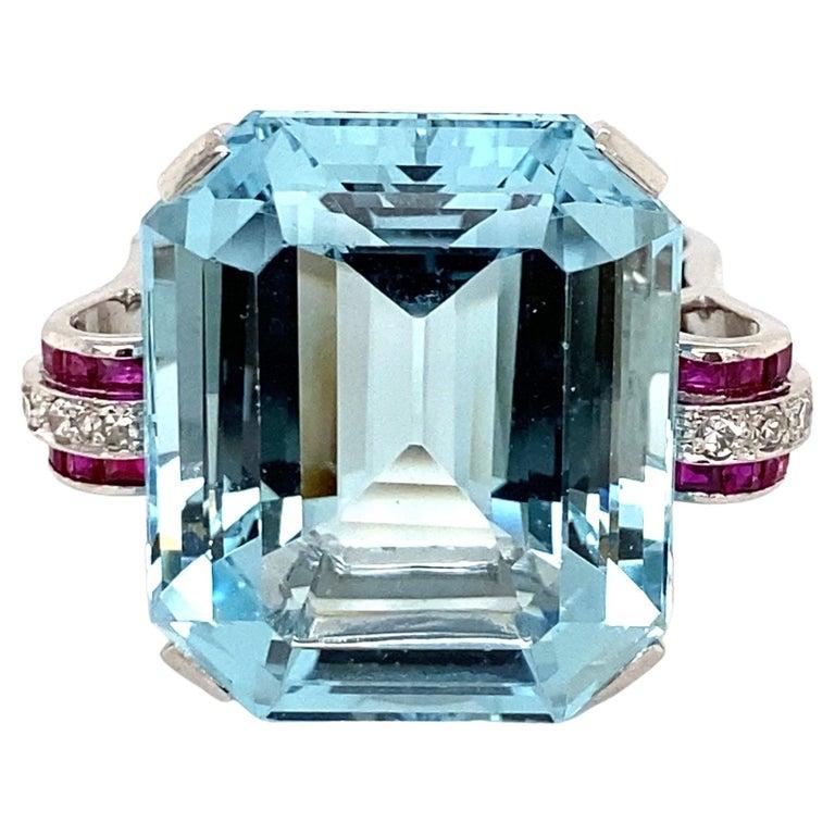 37.5 Carat Aquamarine Ruby and Diamond Platinum Ring Estate Fine Jewelry For Sale