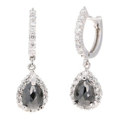 3.75 Carat Black Diamond 14 Karat White Gold Dangle Earrings