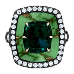 3.75 Carat Blue Green Sapphire and Turquoise Diamond Ring