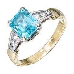 3.75 Carat Blue Zircon Diamond Yellow White Gold Engagement Ring