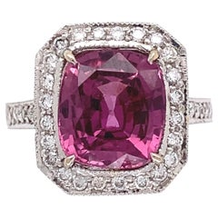 3.75 Carat Cushion Pink Sapphire and Diamond Gold Ring Estate Fine Jewelry