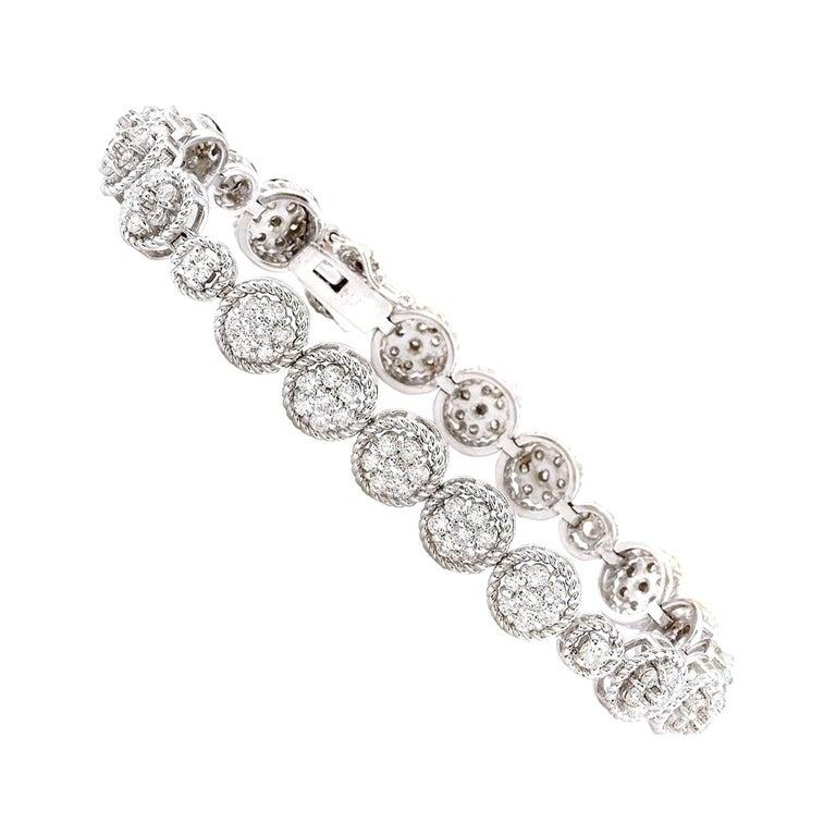 3 75 Carat Diamond 18 Karat Solid White Gold Bracelet