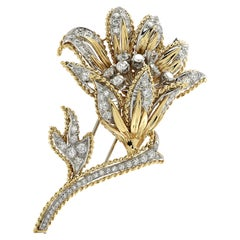 3.75 Carat Diamond Platinum and Yellow Gold Flower Brooch Pin