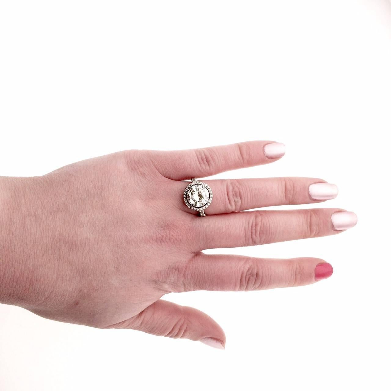 3.75 Carat Diamond Platinum Cluster Engagement Ring For Sale at 1stdibs