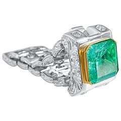 3.75 Carat Emerald-Cut Colombian Emerald and White Diamond Platinum Men's Ring