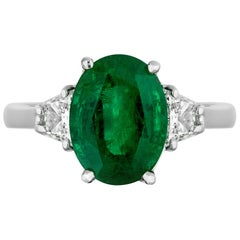 3.75 Carat Emerald Diamond Three-Stone Cocktail Ring
