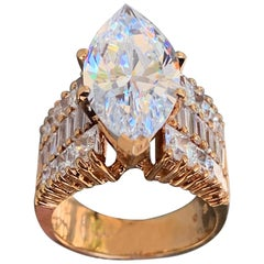 3.75 Carat Marquise Center Diamond, Rose Gold, Engagement Ring