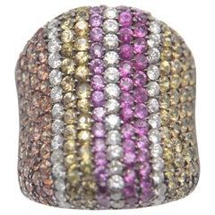 3.75 Carat Multi Sapphire, Garnet and Diamond Ring in 18 Karat Gold