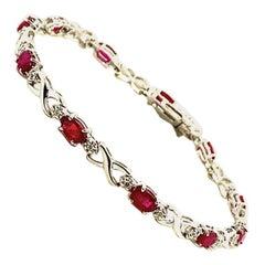 3.75 Carat Natural Diamond and Ruby Bracelet G-H SI 14 Karat White Gold