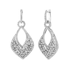 3.75 Carat Natural Diamond Drop Earrings G SI 14k White Gold