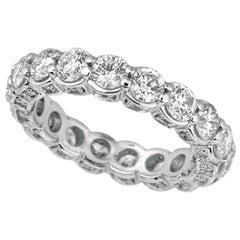 3.75 Carat Natural Diamond Eternity Ring Band G SI 18 Karat White Gold