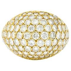 3.75 Carat Pave Diamond 14 Karat Yellow Gold Bombay Cluster Dome Band Ring