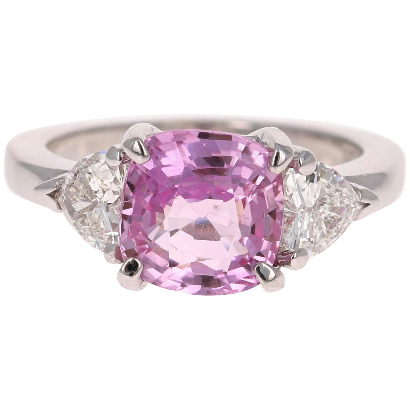 GIA Certified 3.75 Carat Pink Sapphire Diamond 14 Karat White Gold 3-Stone Ring