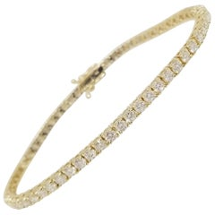3.75 Carat Round Brilliant Cut Diamond Tennis Bracelet 14 Karat Yellow Gold