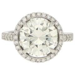 3.75 Carat Round Brilliant Diamond Halo Engagement Cocktail Ring Set in Platinum