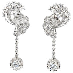 3.75 Carat Round Diamond Dangle Earrings in 18 Karat White Gold