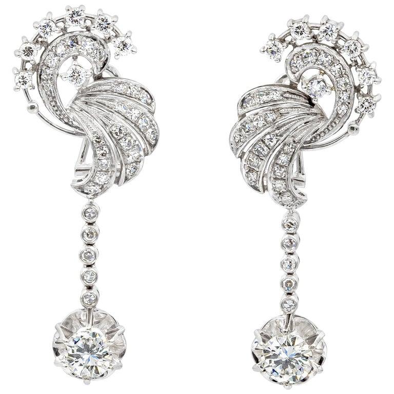 3.75 Carat Round Diamond Dangle Earrings in 18 Karat White Gold For Sale
