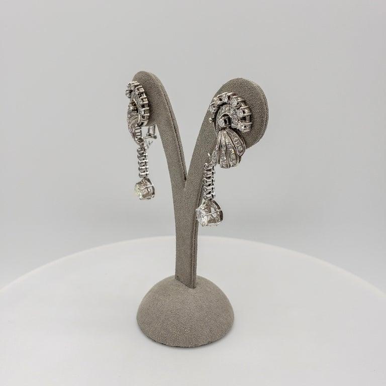 Retro 3.75 Carat Round Diamond Dangle Earrings in 18 Karat White Gold For Sale