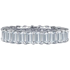 3.75 Carat Total Weight in Fine Emerald Cut Diamonds in Platinum Eternity Band