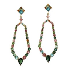 3.75 Carat Tourmaline 18 Karat Gold Earrings