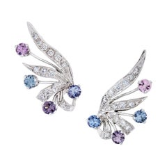 3.75 Carats Spinel and Diamond Earrings in 14 Karat White Gold