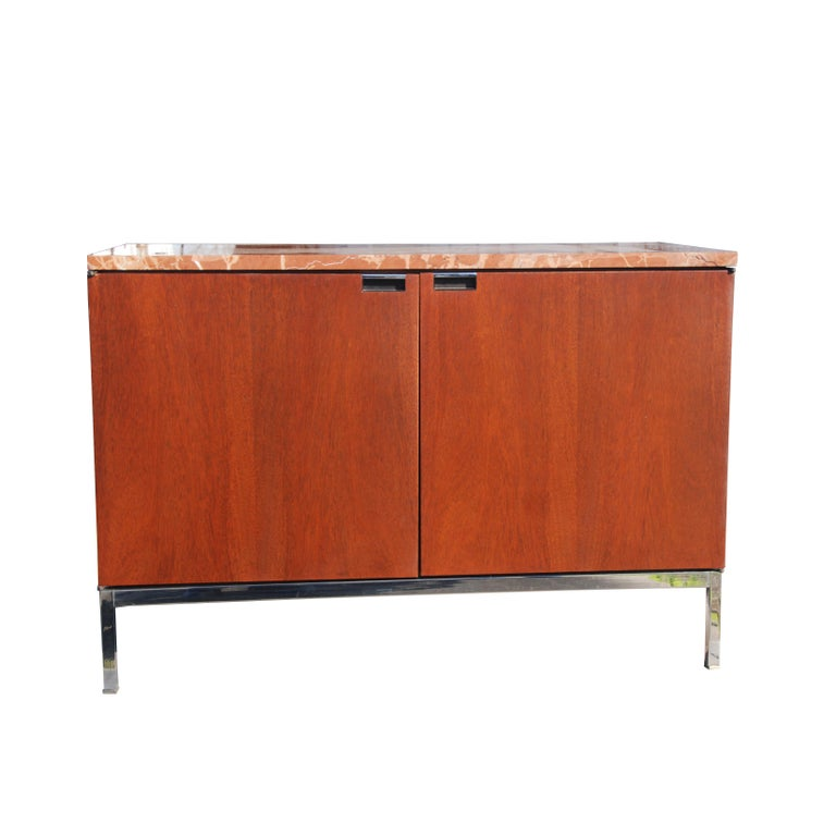 Mid-Century Modern Knoll credenza with Rojo marble top