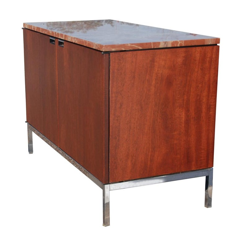 North American Mid-Century Modern Knoll Credenza with Rojo Marble Top For Sale