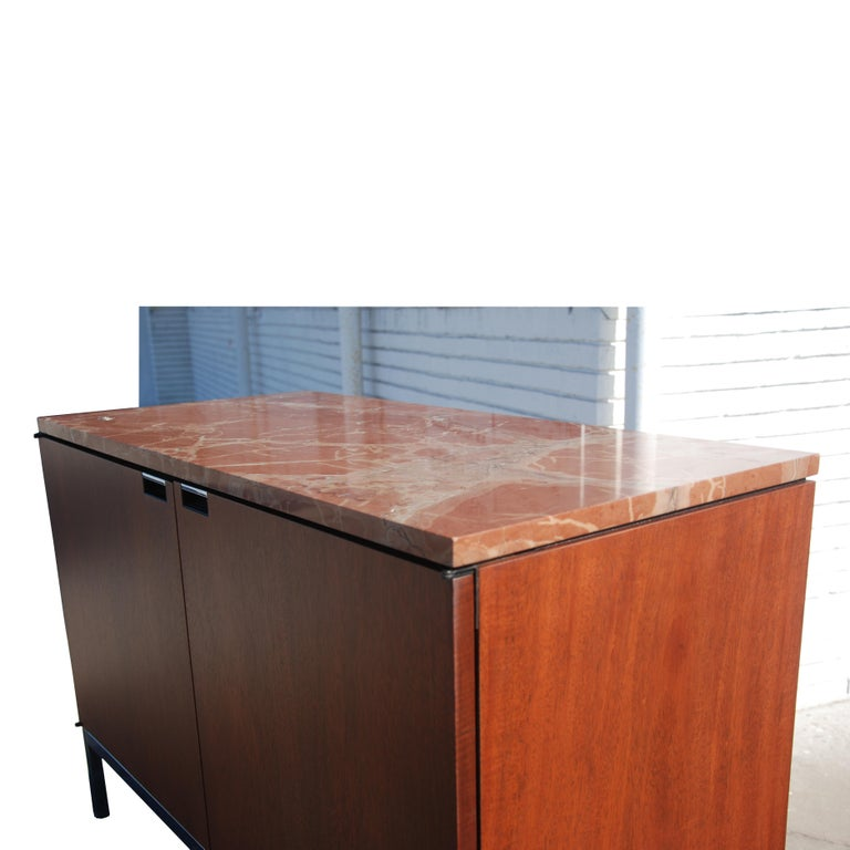 20th Century Mid-Century Modern Knoll Credenza with Rojo Marble Top For Sale