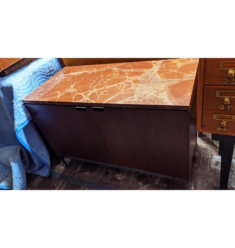 Mid-Century Modern Knoll Credenza with Rojo Marble Top For Sale 1