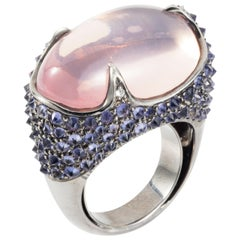 37.520ct Rose Quartz, Iolite Diamond 18K Gold Silver Cocktail Ring by Manpriya B