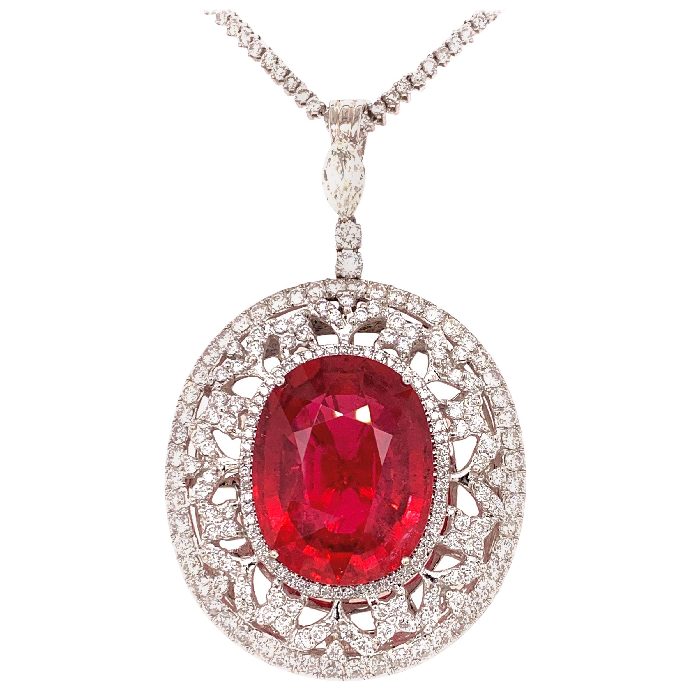 "37.56 Carat Tourmaline ""Rubellite"" Diamond Pendant Necklace"