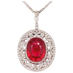 37.56 Carat Rubellite Tourmaline Diamond Pendant Necklace