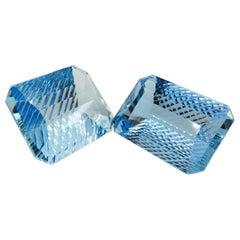 37.58 Carat and 35.93 Carat Millennium Cut Aquamarines, Oversized