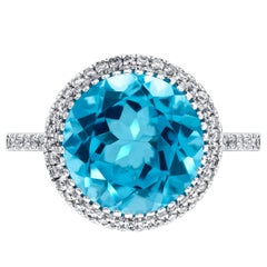 3.75ct Round Blue Topaz Engagement Ring 0.38 Carat Diamond in 18ct White Gold