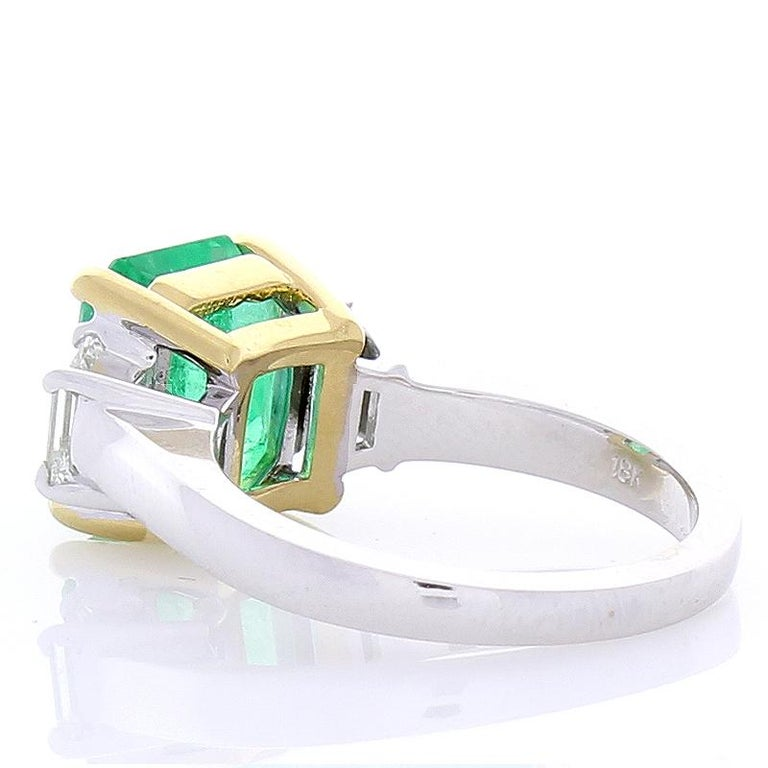 Emerald Cut 3.76 Carat Emerald and Diamond Two-Tone Cocktail Ring in 18 Karat Gold For Sale