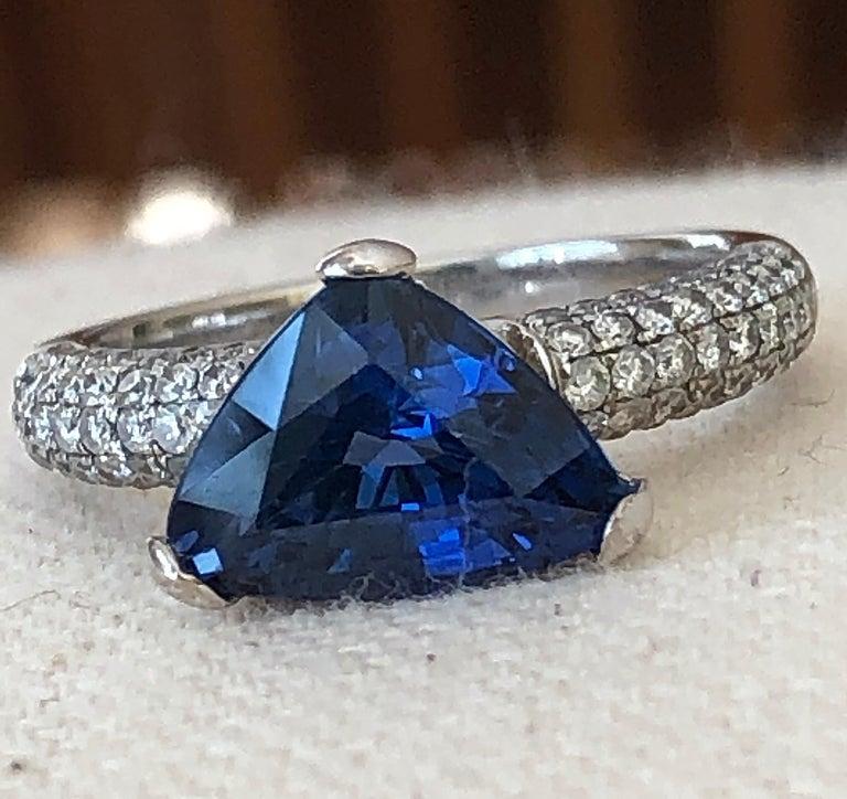 Trillion Cut 3.76 Carat Sapphire Diamond Engagement Ring 18 Karat White Gold For Sale