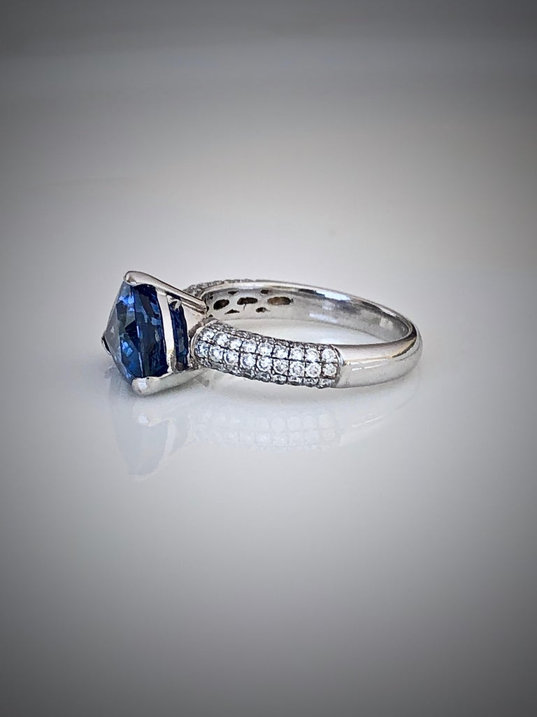 Contemporary 3.76 Carat Sapphire Diamond Engagement Ring 18 Karat White Gold For Sale