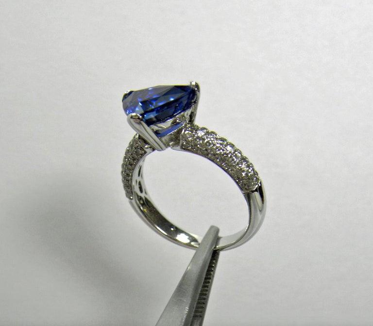 3.76 Carat Sapphire Diamond Engagement Ring 18 Karat White Gold For Sale 3