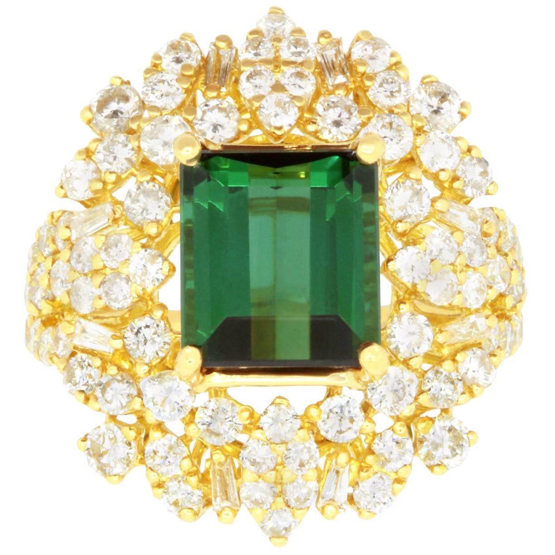 Emerald Cut Green Tourmaline and 2.08 Carat White Diamond Ring 18K Yellow Gold