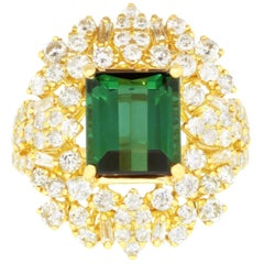 Emerald Cut Green Tourmaline and 2.08 Carat White Diamond Ring 18K Yellow Gold
