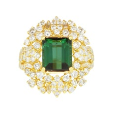 3.76 Carat Green Tourmaline and 2.08 Carat White Diamond Ring