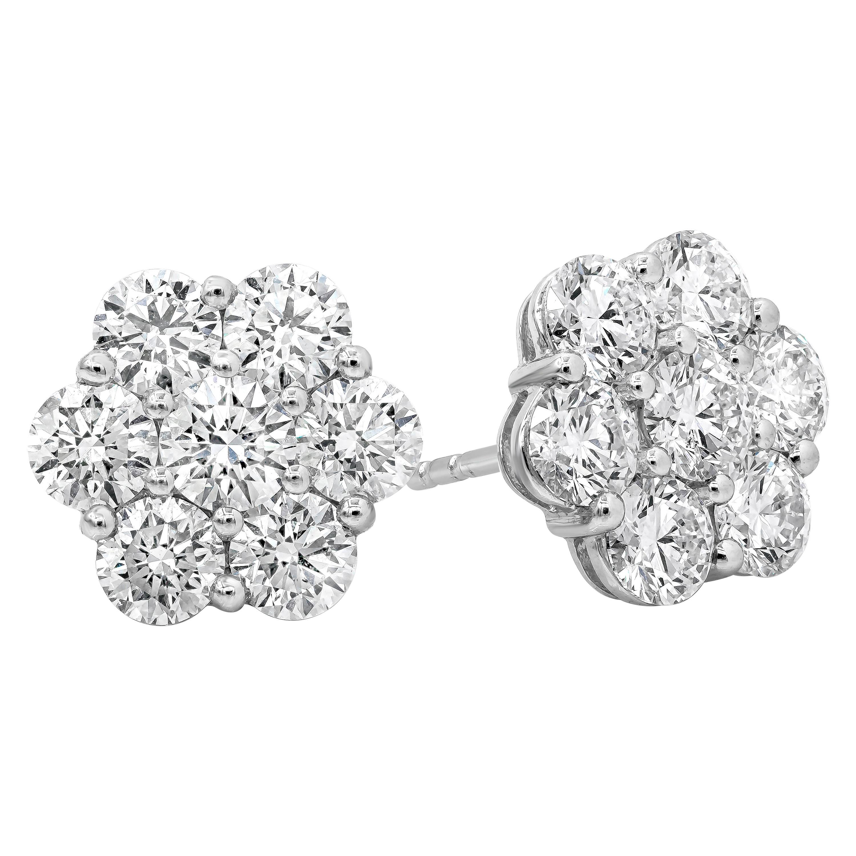 Roman Malakov, 3.76 Carat Round Diamond Flower Earrings