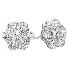 3.76 Carat Round Diamond Flower Earrings