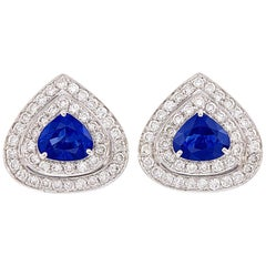 3.76 Carat Sapphire, White Gold and Diamond Clip-On Earrings