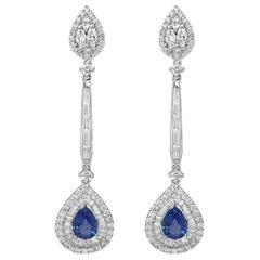 3.76 Carats Diamond and 3.43 Carats Natural Ceylon Blue Sapphire Drop Earring
